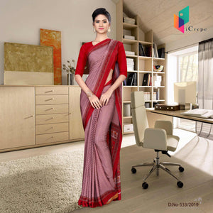 Light red and red italian crepe silk hospital uniform saree