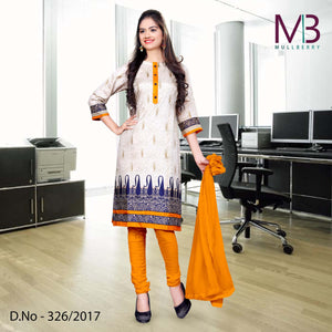 Blue, cream and orange Mulberry silk uniform salwar kameez