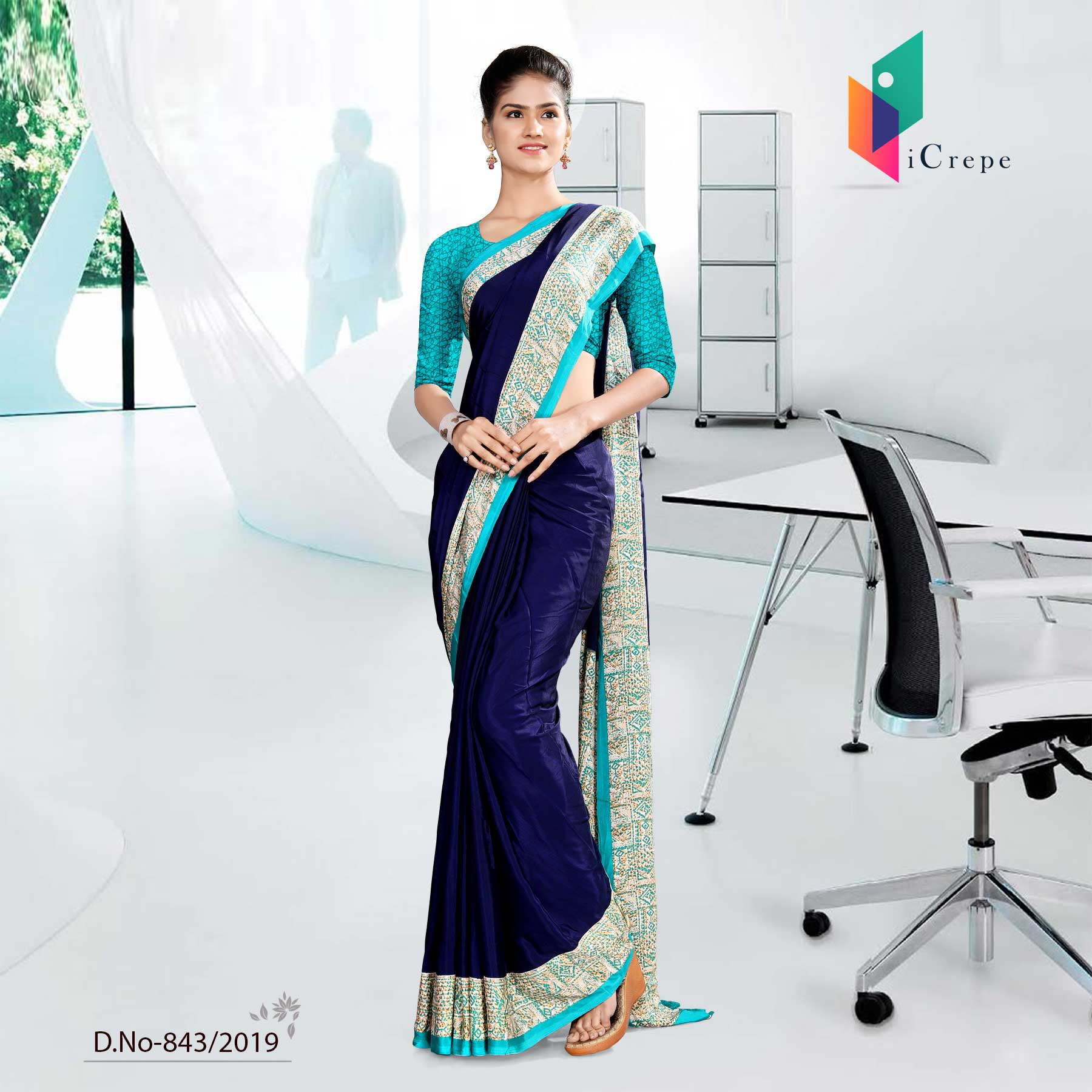 OFF BLUE AND BLUE ICREPE  CORPORATE UNIFORM SAREE