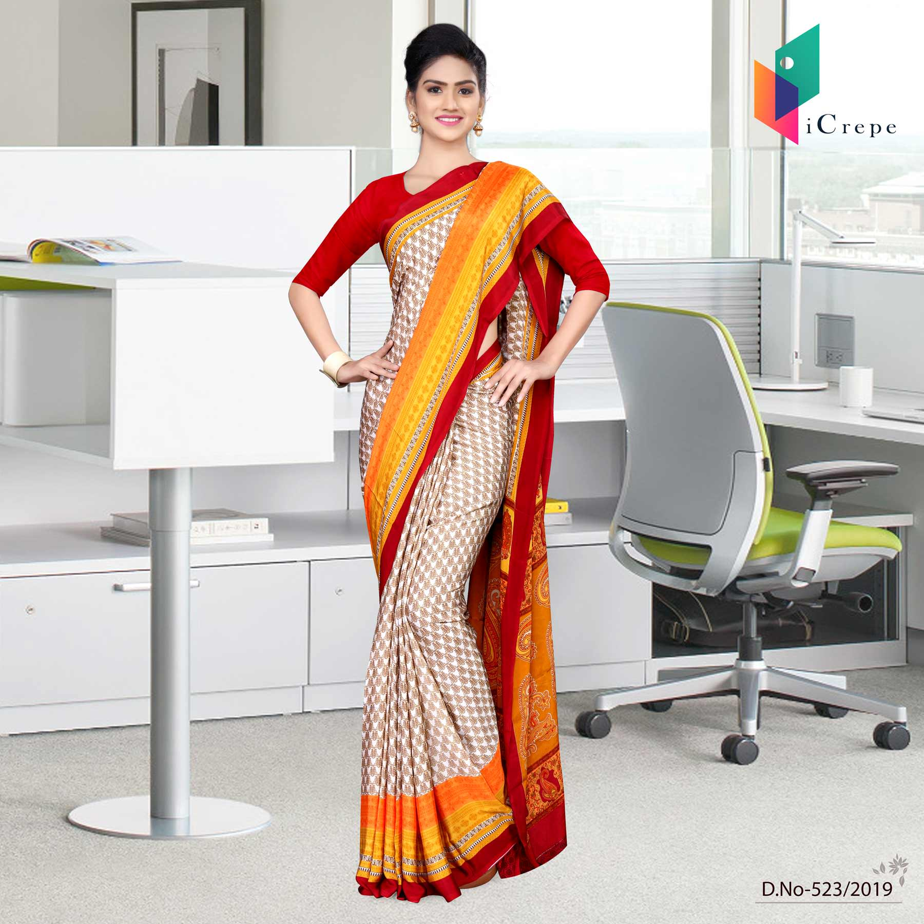 Off white and red italian crepe silk worker uniform saree