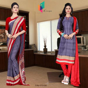 an image of  Violet and red italian crepe silk showroom uniform saree salwar combo with product logo and sku number