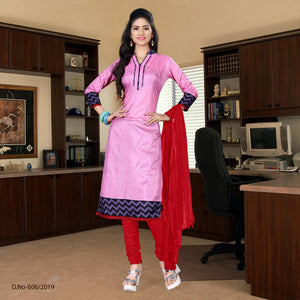 Pink with maroon border tripura cotton school uniform salwar kameez