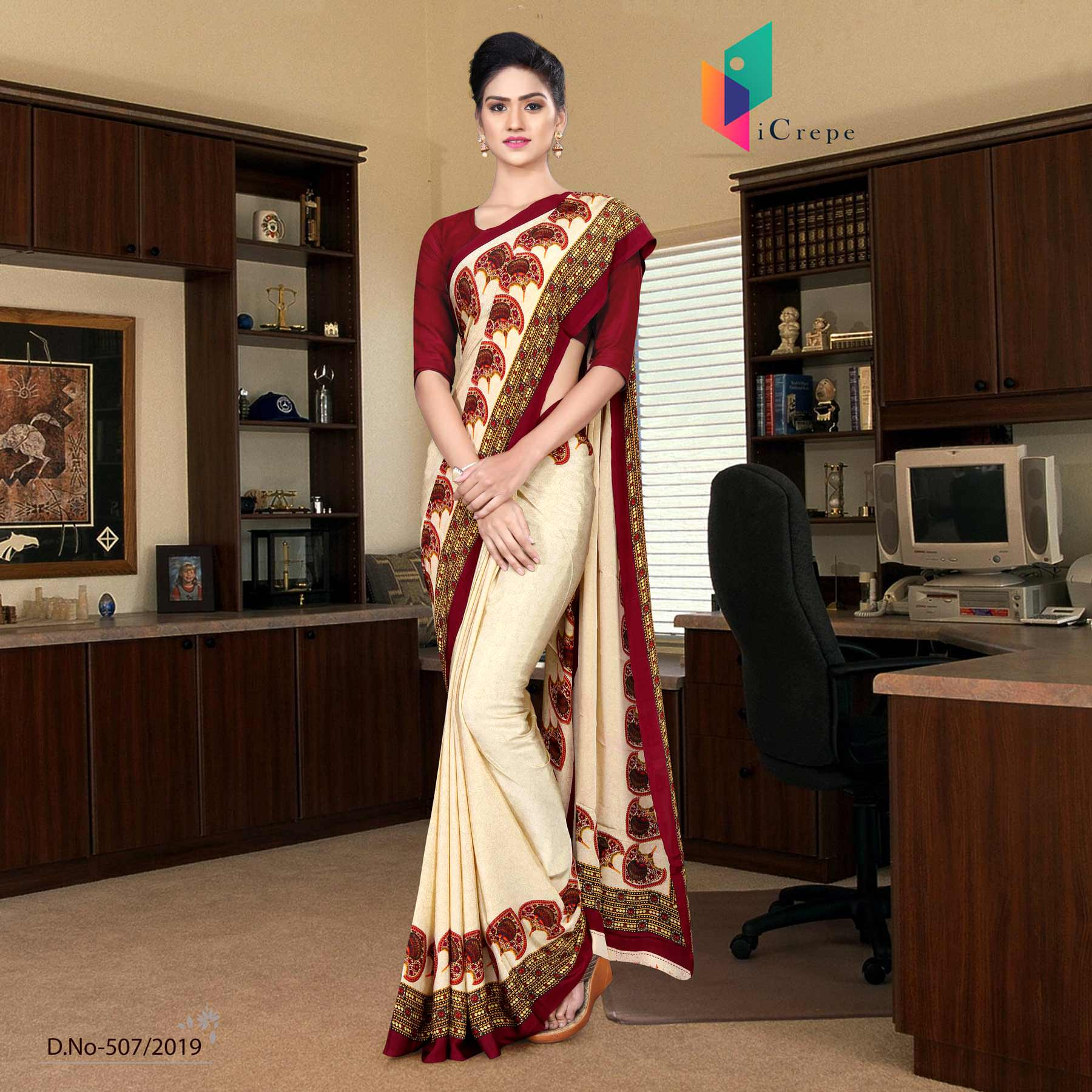 Off white and red italian crepe silk showroom uniform saree