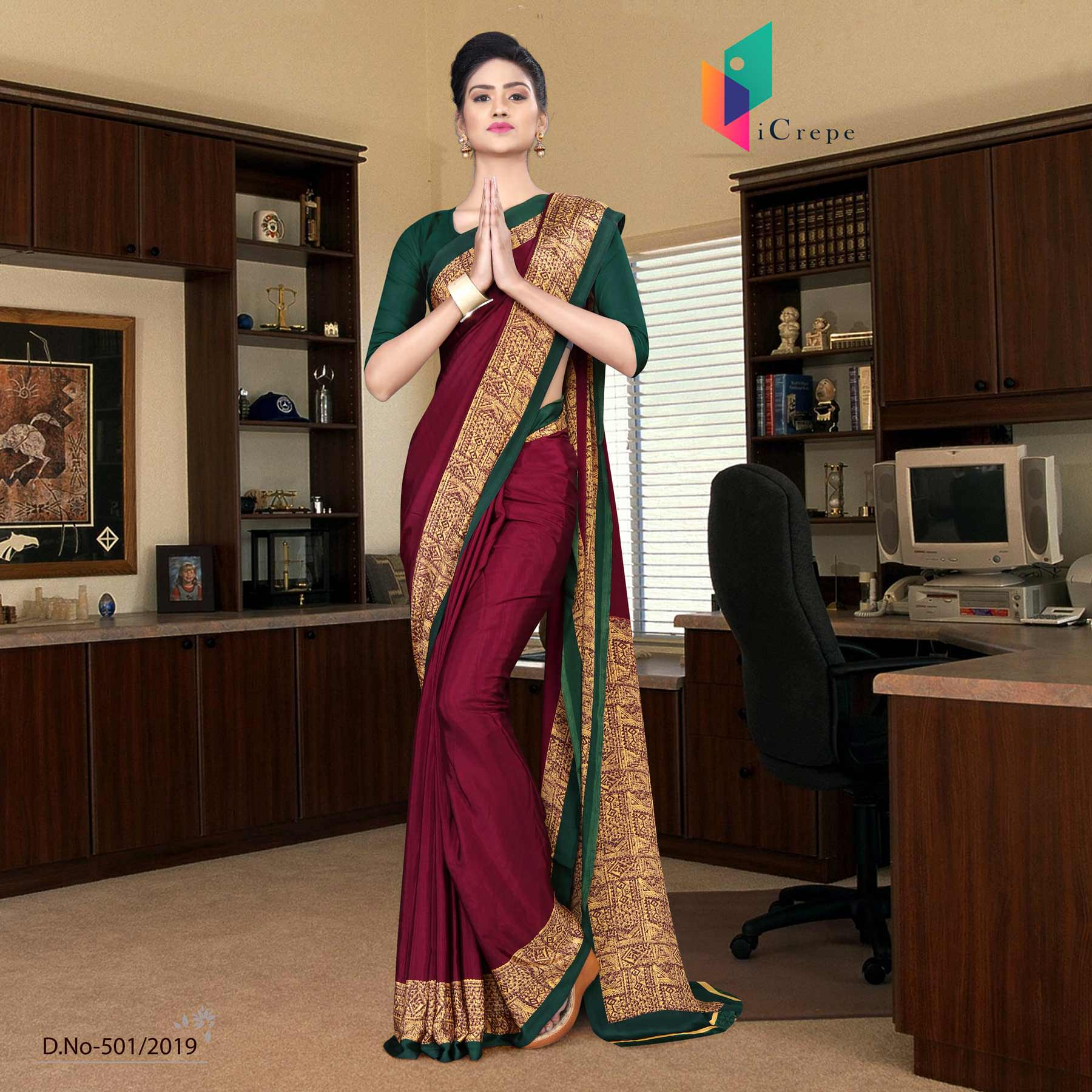 Red and green italian crepe silk anganwadi uniform saree