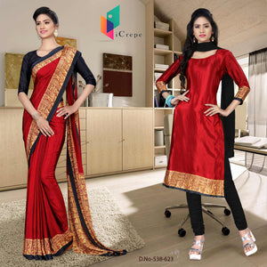 Maroon and black italian crepe silk staff uniform saree salwar combo
