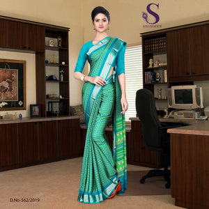 Green and Blue Silk Crepe Jaquard Border school Uniform Sarees