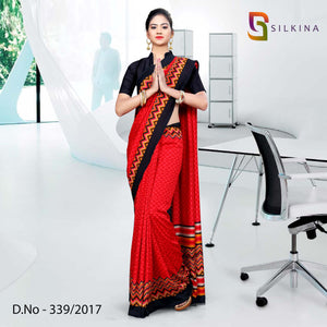 Red with black border Silk Georgette Uniform Saree