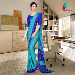 Sky blue and blue italian crepe silk hospital uniform saree