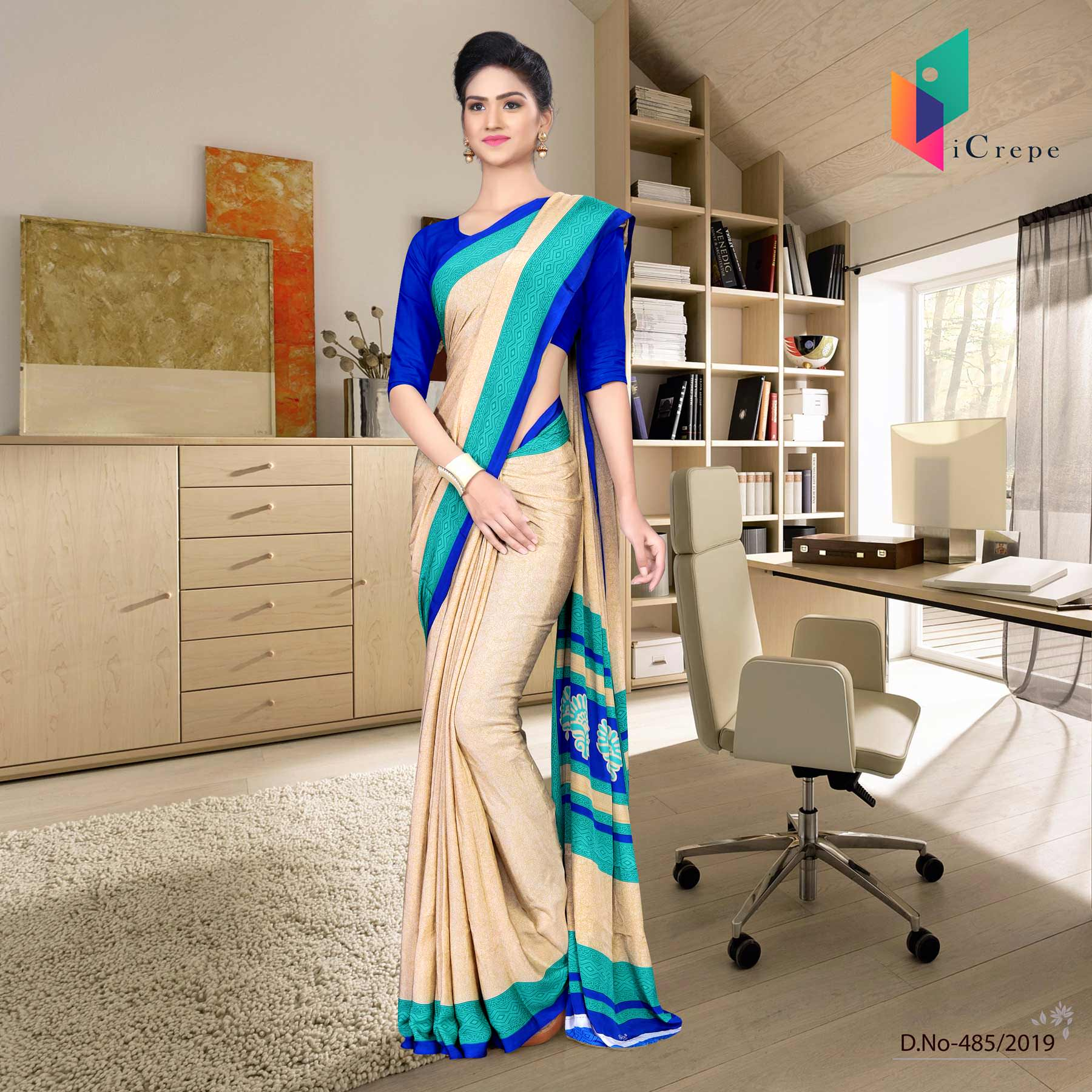 Off white and blue italian crepe silk simple uniform saree