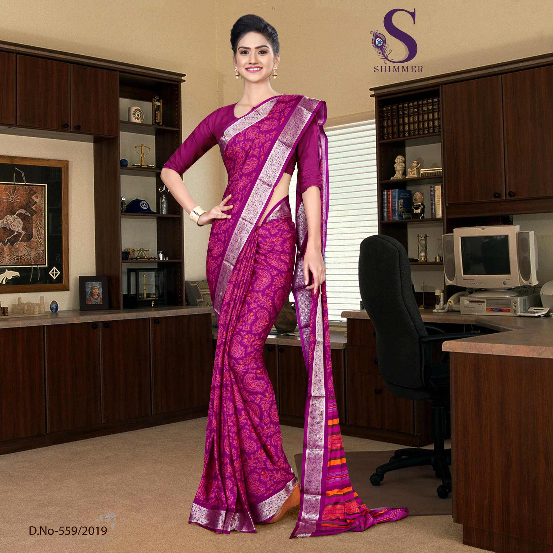 an image of Voilet purple silk crepe jaquard border hospital  uniform sarees with product logo and sku number