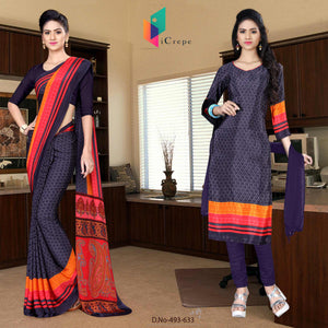 Grey and black italian crepe silk school uniform saree salwar combo