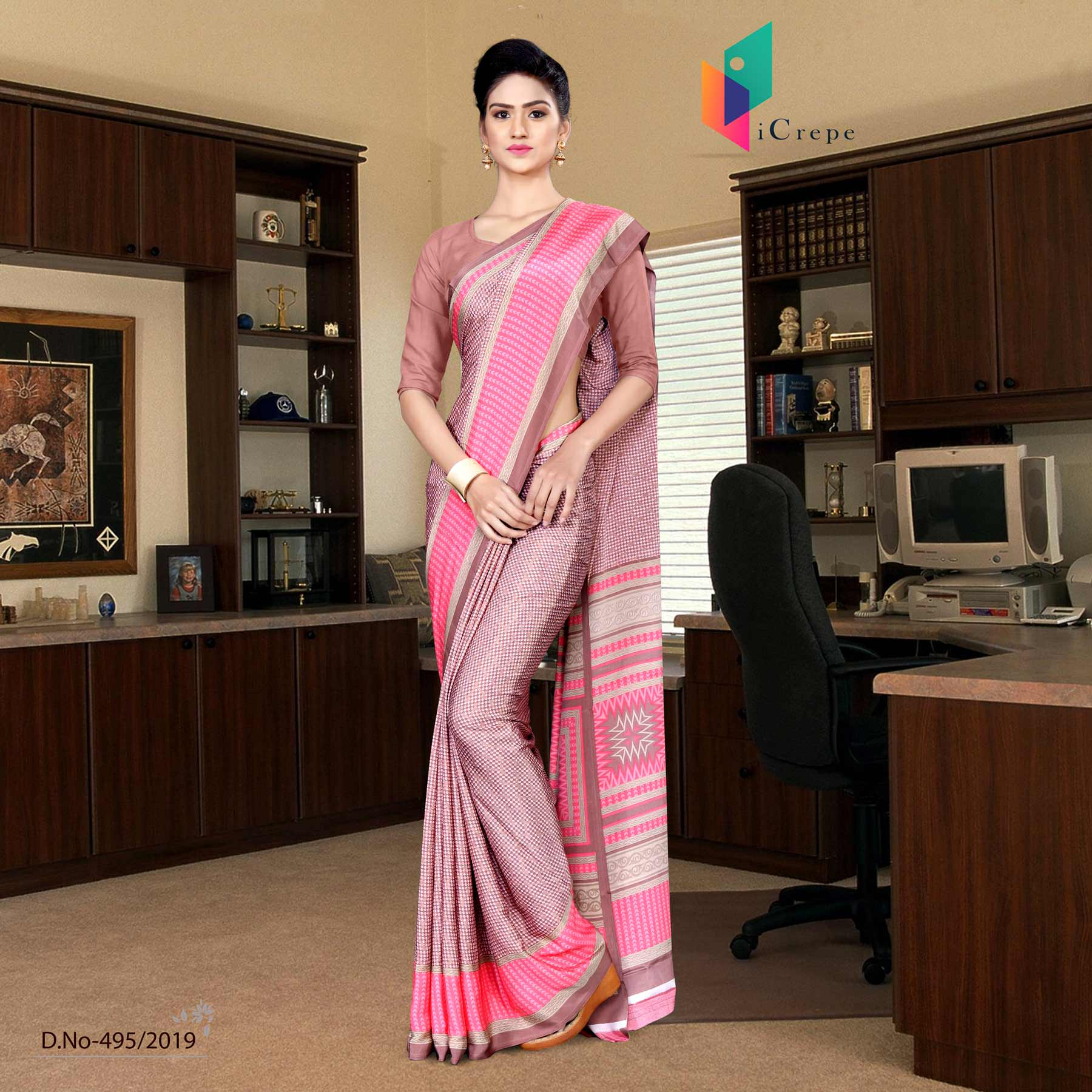Pink and pink italian crepe silk air hostess uniform saree