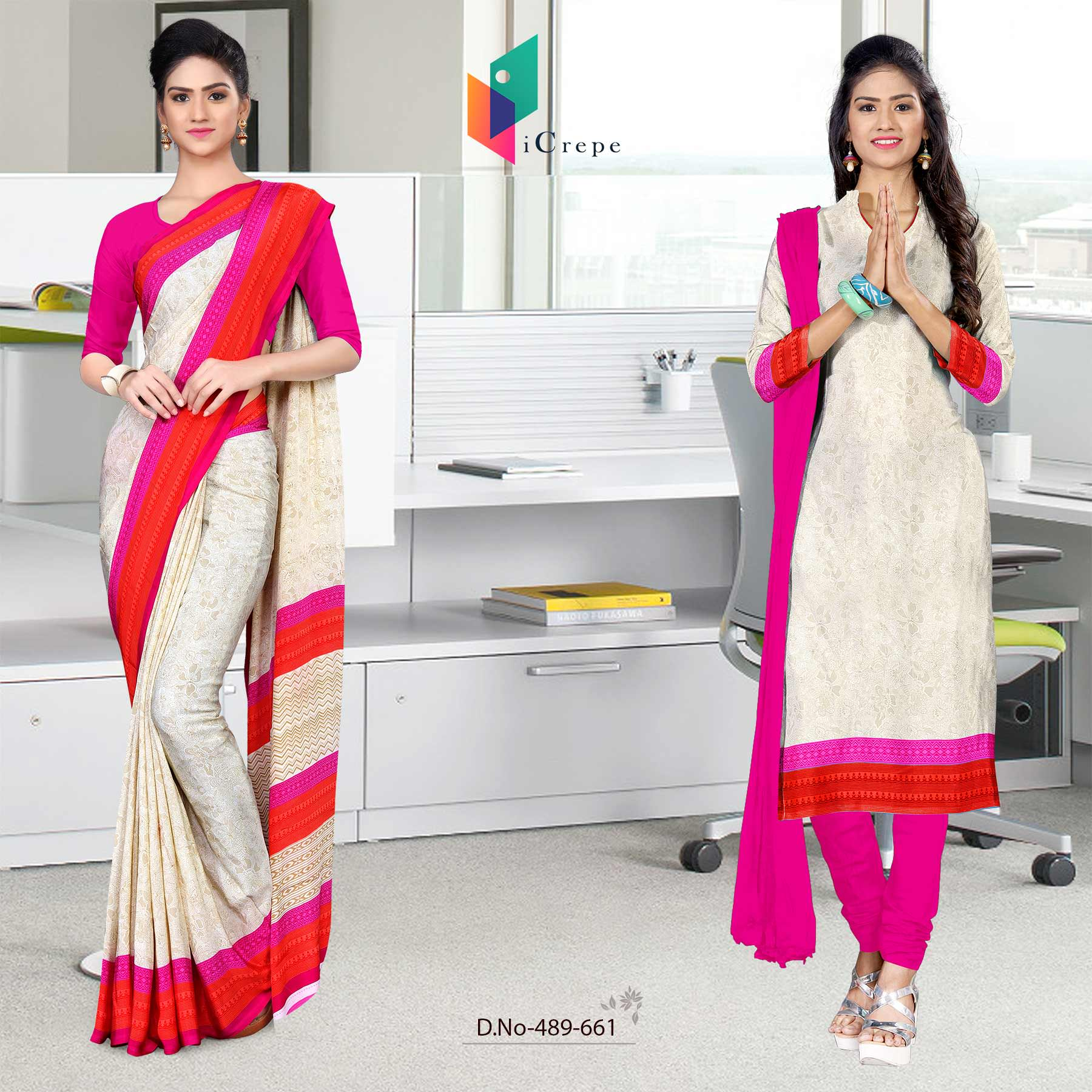 Off white and pink italian crepe silk simple uniform saree salwar combo