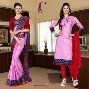 Pink and maroon hotel uniform saree salwar combo