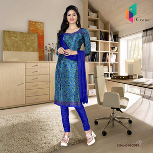 an image of turquoise  and blue italian crepe silk hotel uniform salwar kameez  with product logo and sku number