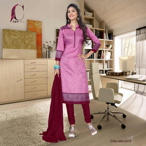 Pink with maroon border tripura cotton hotel uniform salwar kameez