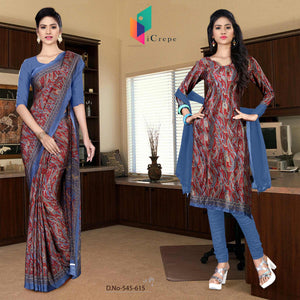 an image of  Turquoise and blue italian crepe silk college uniform saree salwar combo with product logo and sku number