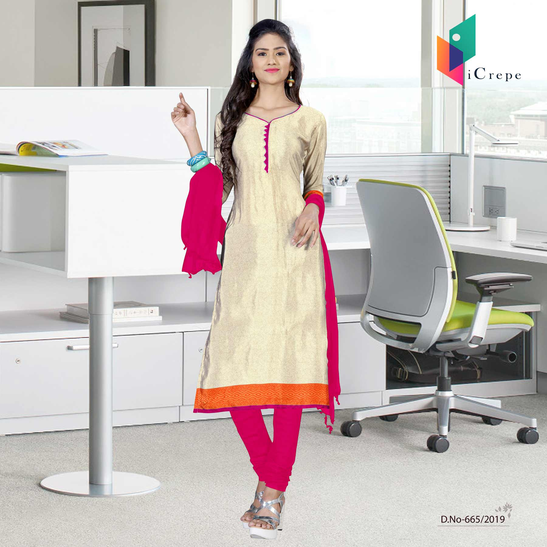 Off white and pink italian crepe silk institute uniform salwar kameez