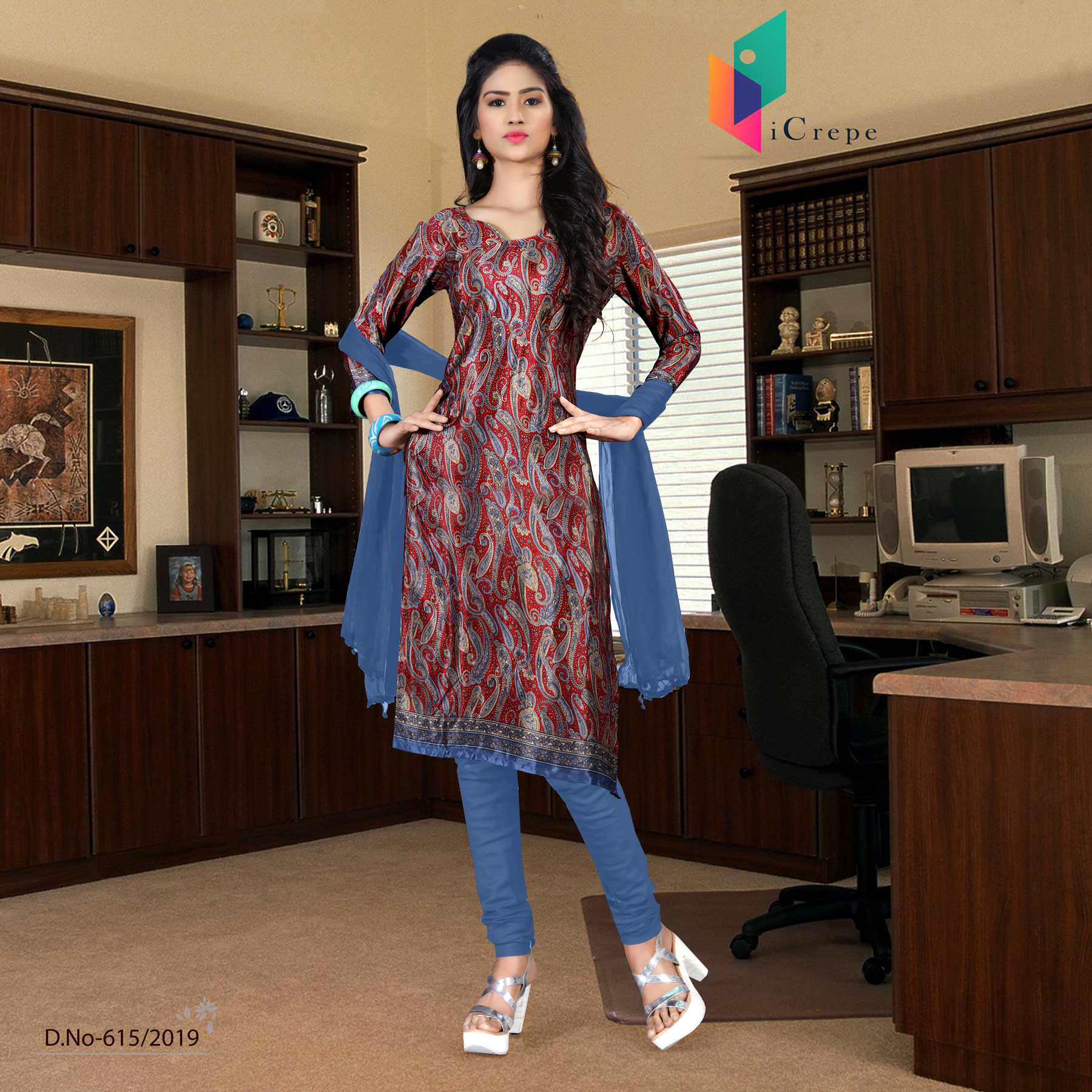 an image of turquoise  and blue italian crepe silk hospital uniform salwar kameez  with product logo and sku number