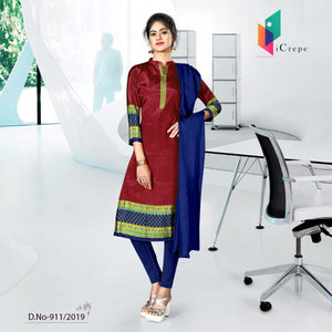 BLUE AND MAROON  CREPE SILK CORPORATE UNIFORM SALWAR KAMEEZ