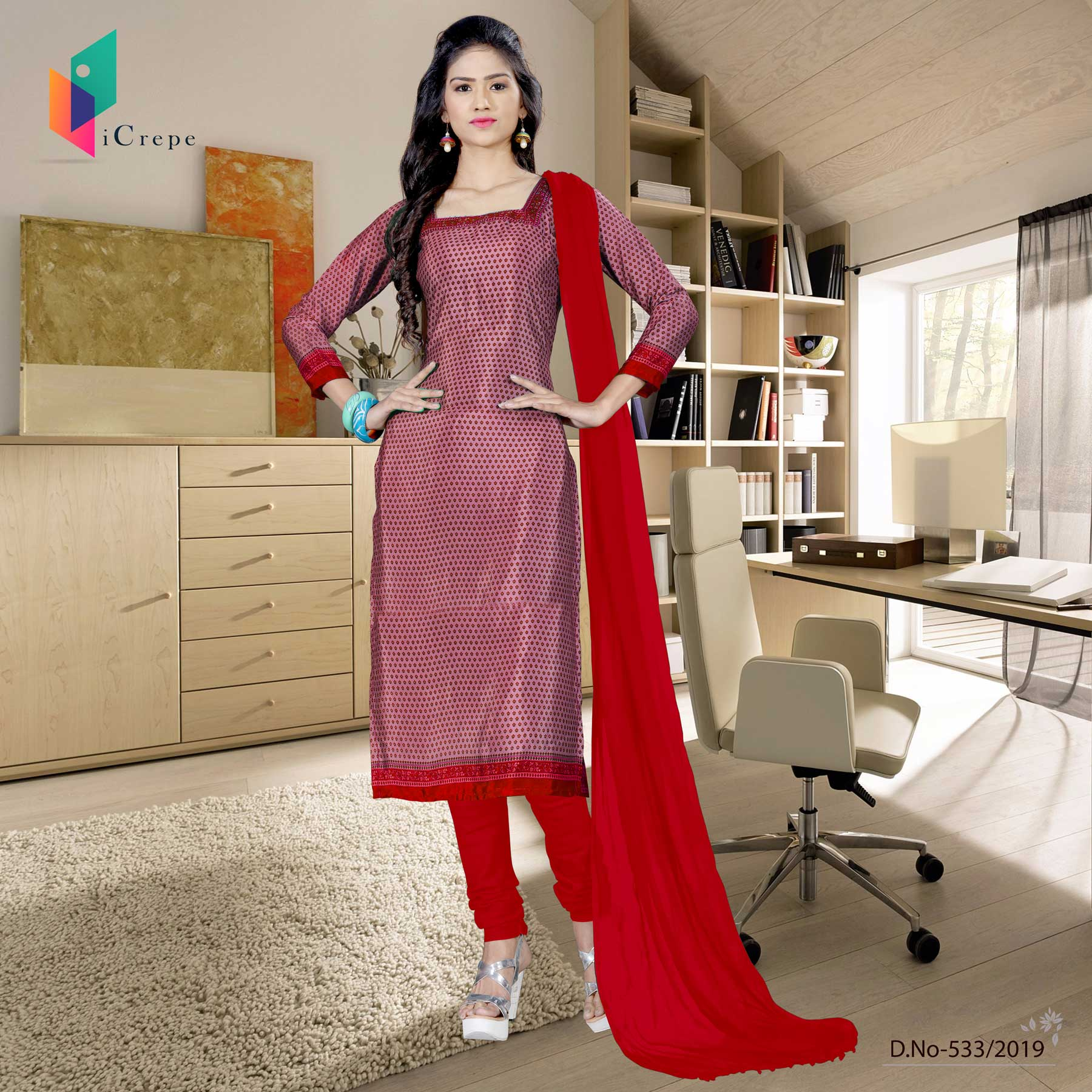 Light red and red italian crepe silk college uniform salwar kameez