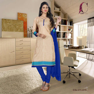 Beige with blue border tripura cotton office uniform salwar kameez