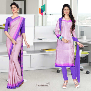 Pink and purple italian crepe silk teachers uniform saree salwar combo