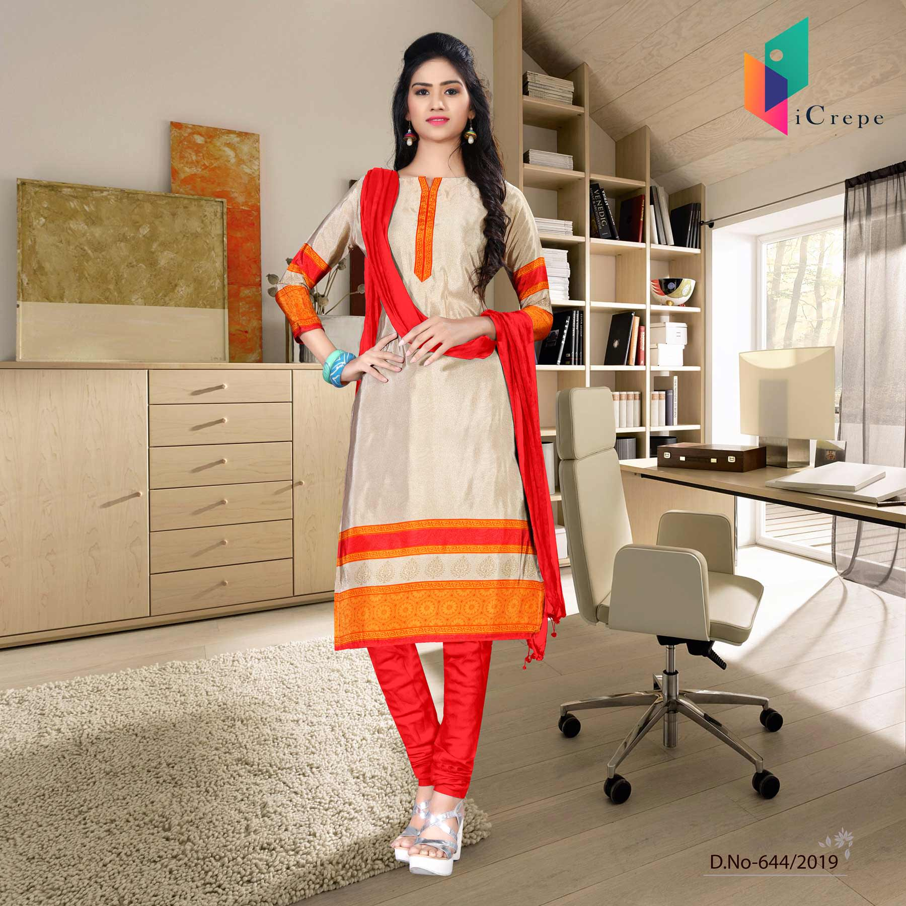 Off white and red italian crepe silk institute uniform salwar kameez