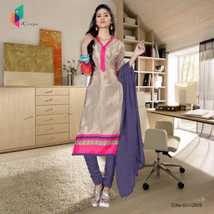 Beige and blue italian crepe silk hospital uniform salwar kameez