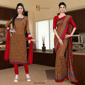 Off white maroon Georgette  school Uniform saree salwar combo