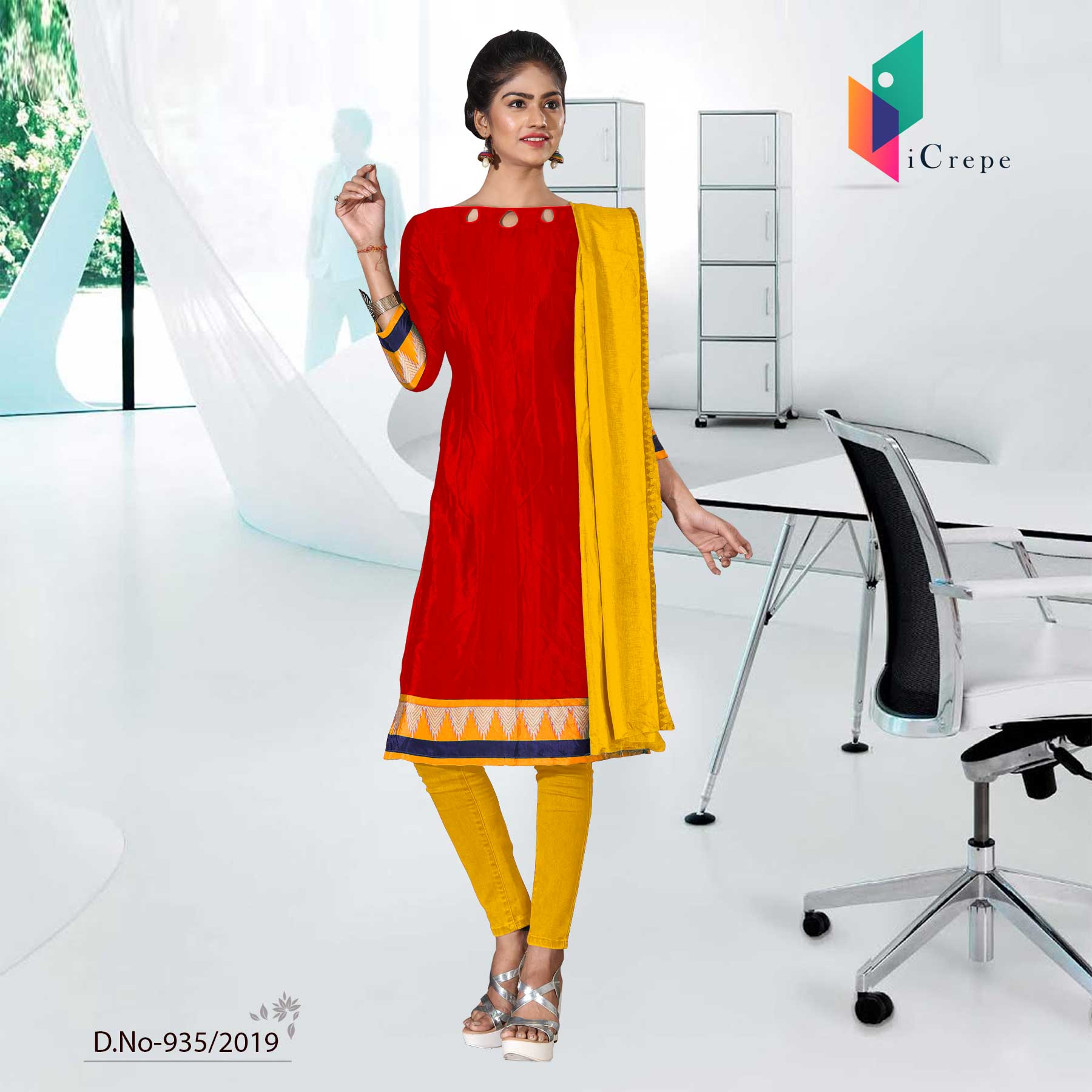 RED AND YELLOW CREPE SILK INSTITUTE UNIFORM SALWAR KAMEEZ