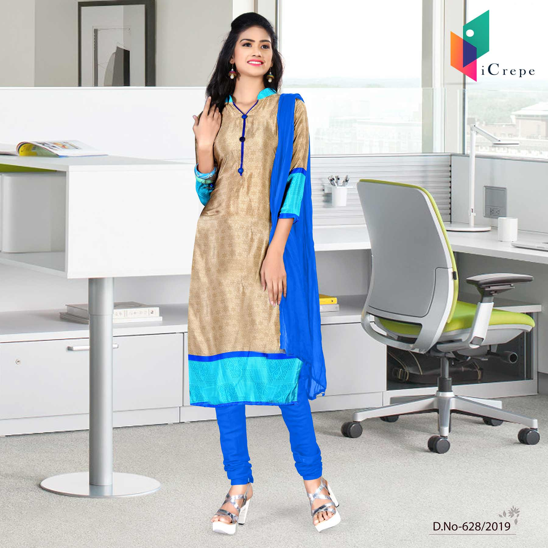 Blue and Brown italian crepe silk college uniform salwar kameez