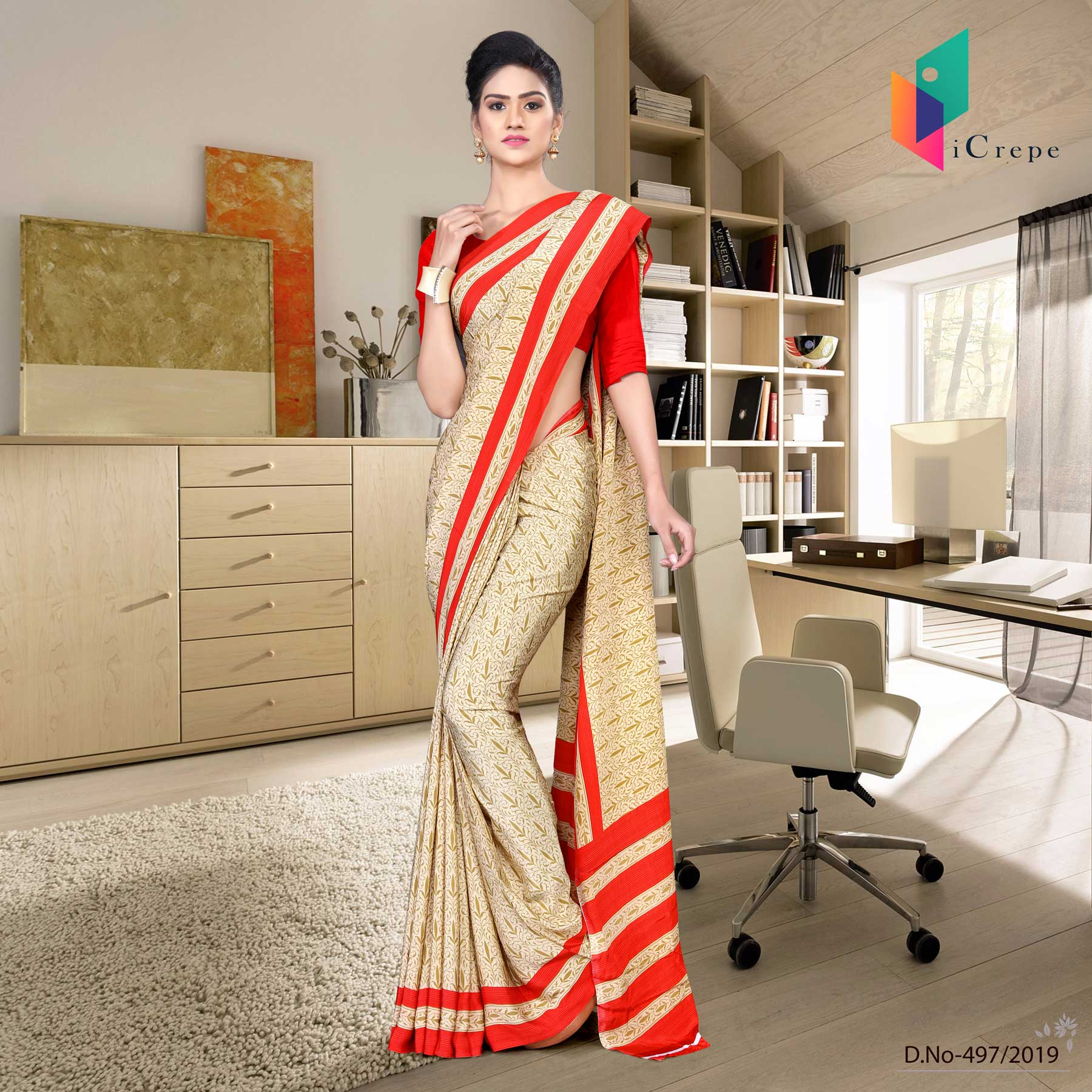 Off white and red italian crepe silk office uniform saree