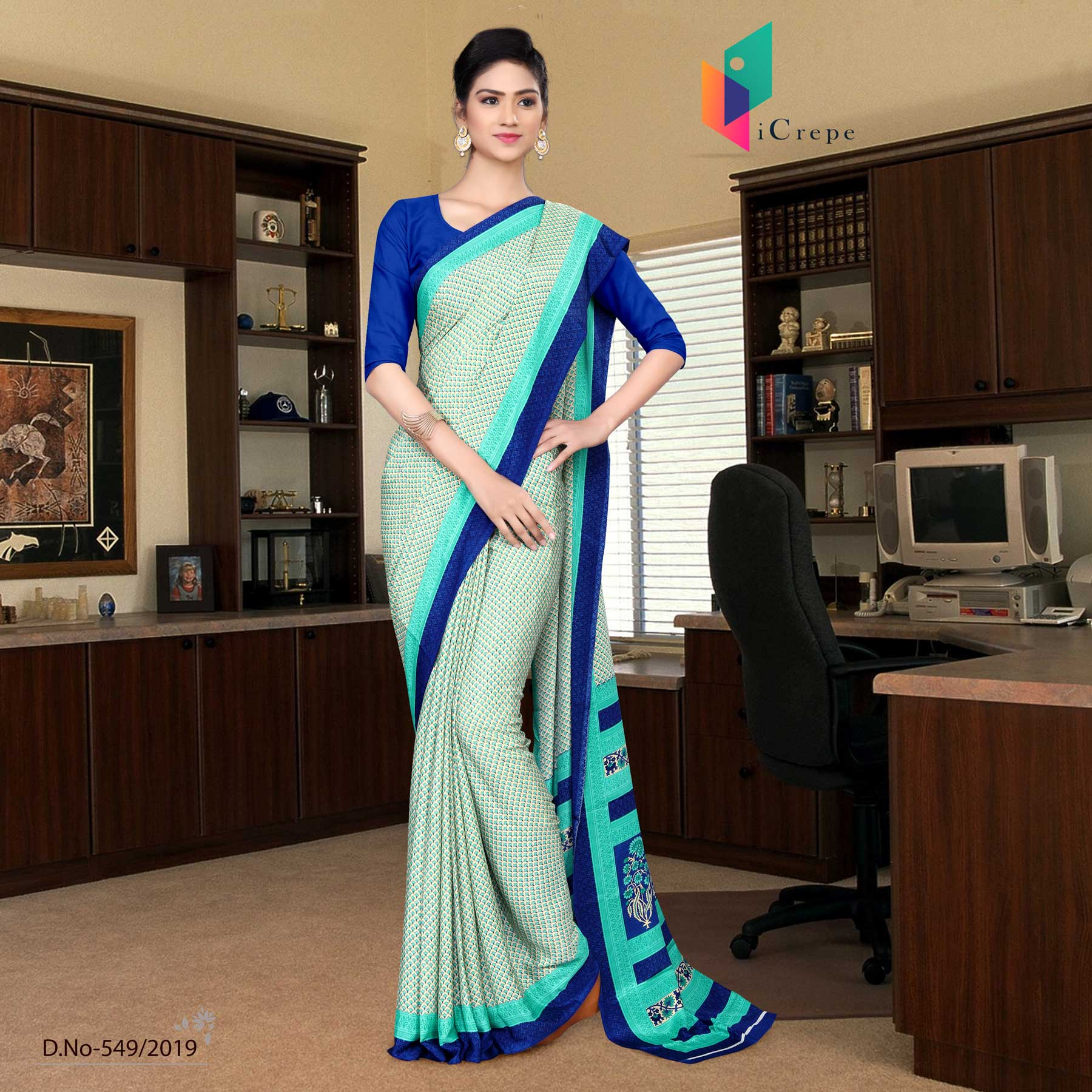 Off white and blue italian crepe silk handloom uniform saree
