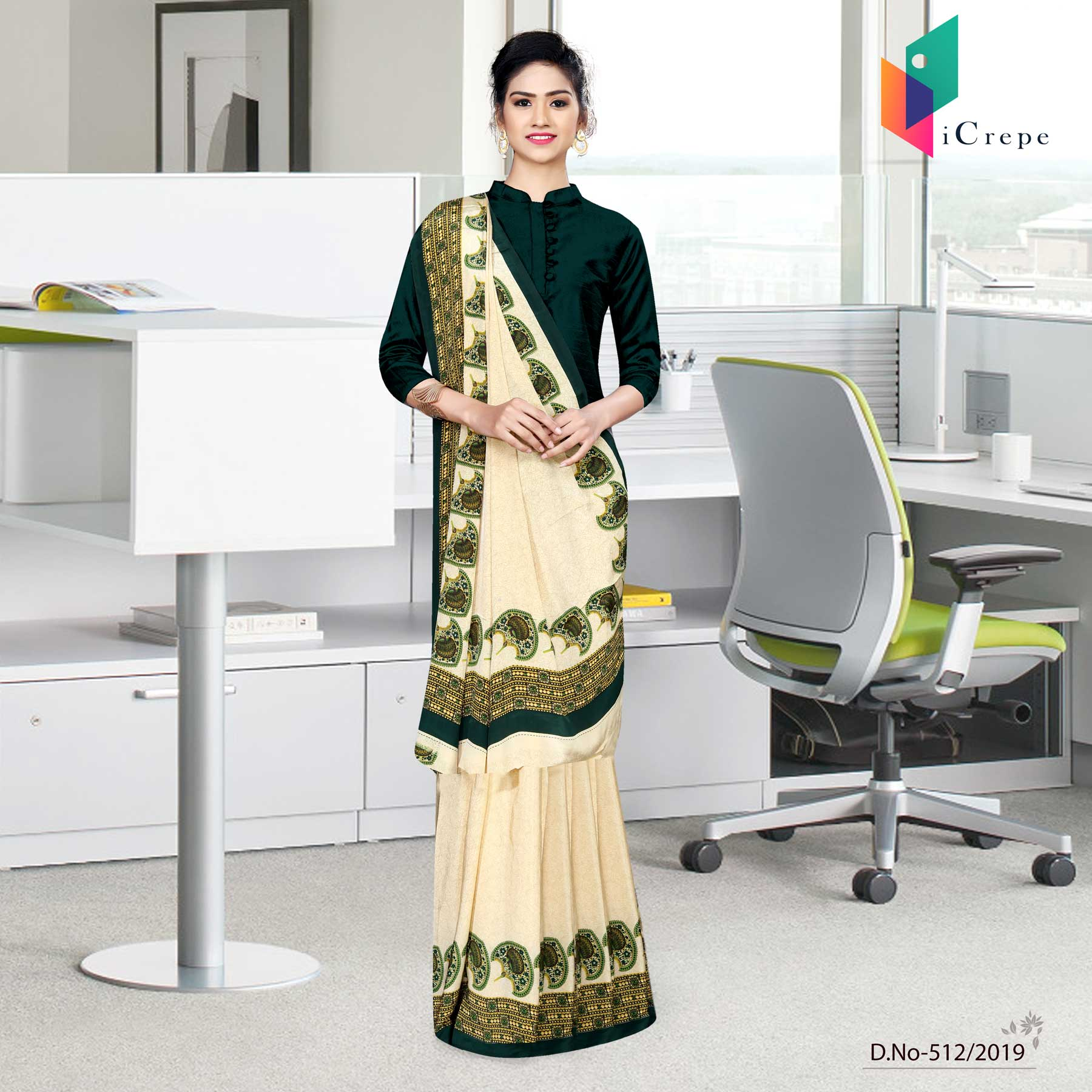 Off white and bottle green italian crepe silk house keeping uniform saree