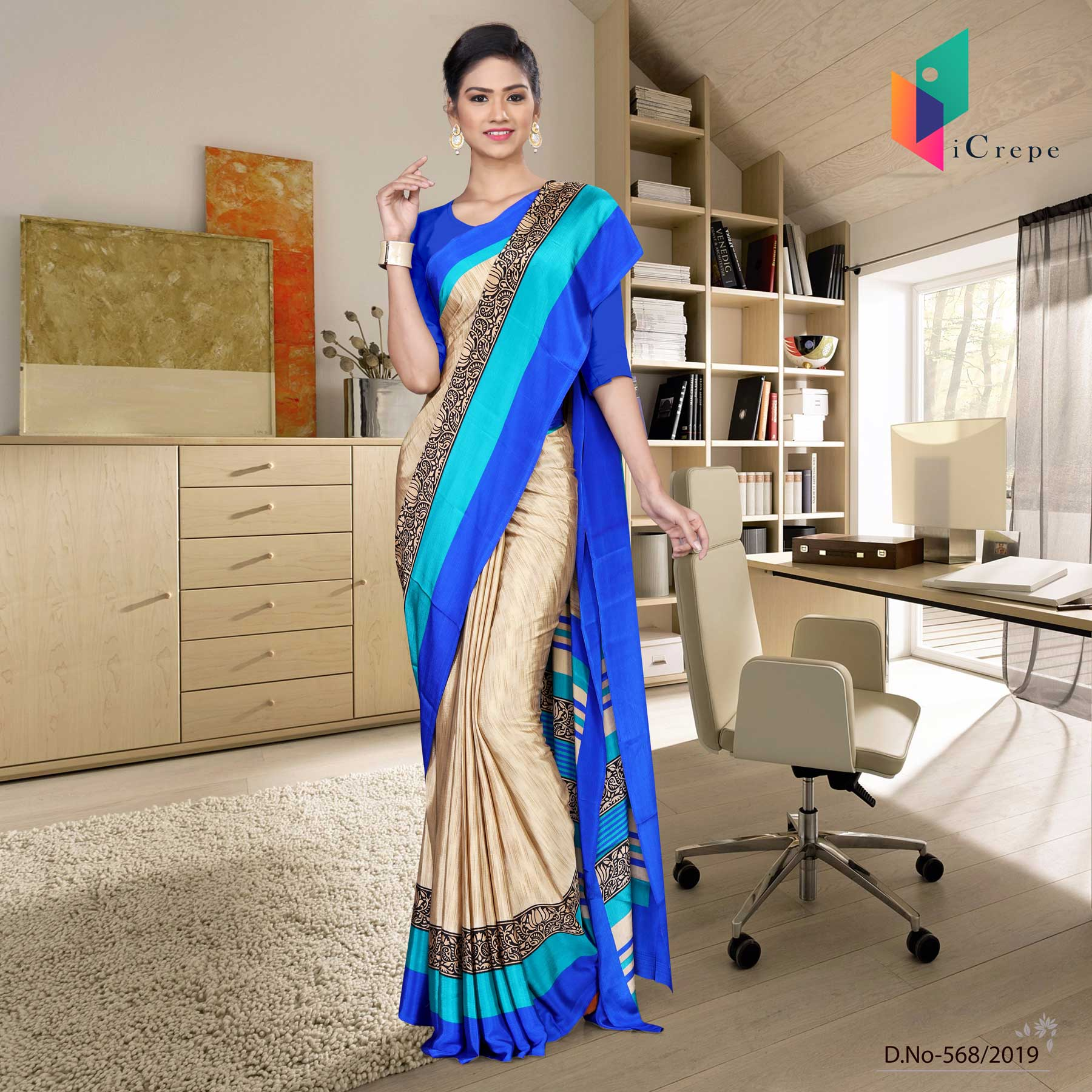 Off white and blue italian crepe silk institution uniform saree