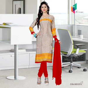 Off white and red italian crepe silk hotel uniform salwar kameez