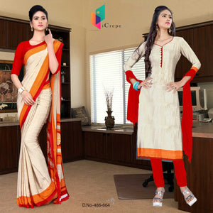 Off White and Red Italian Crepe Silk Teacher Uniform Saree and Salwar combo