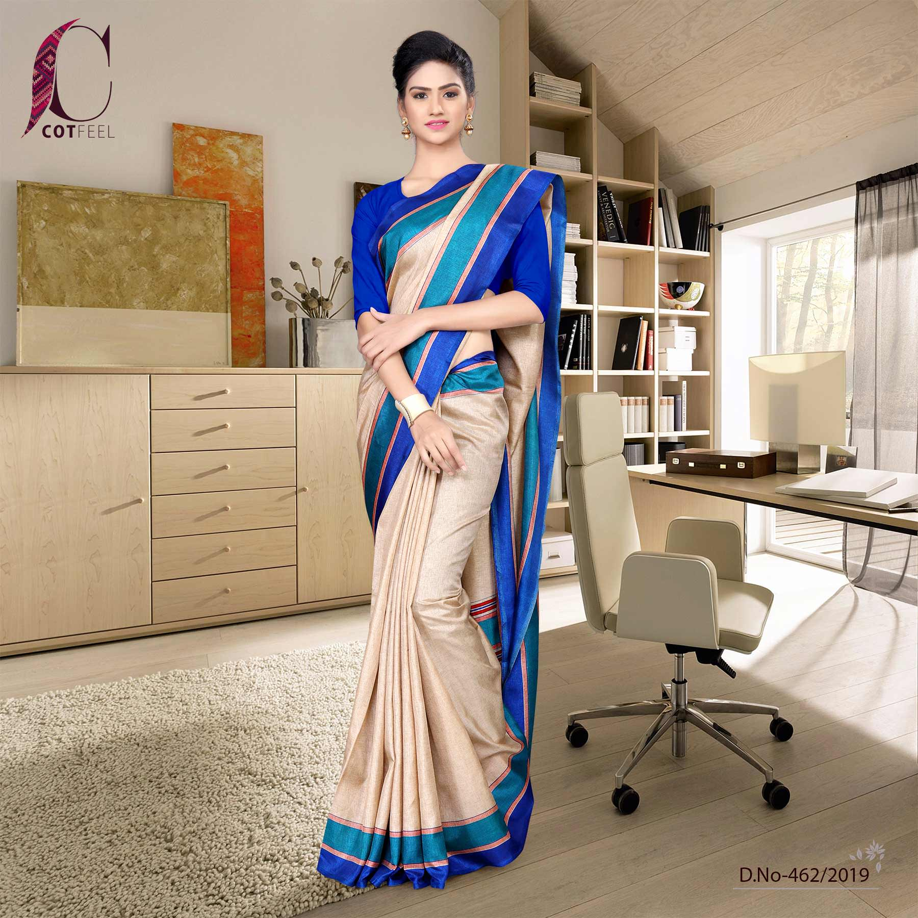 Beige and blue tripura cotton school uniform saree