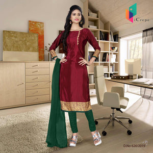 an image of red  and green italian crepe silk hospital uniform salwar kameez  with product logo and sku number