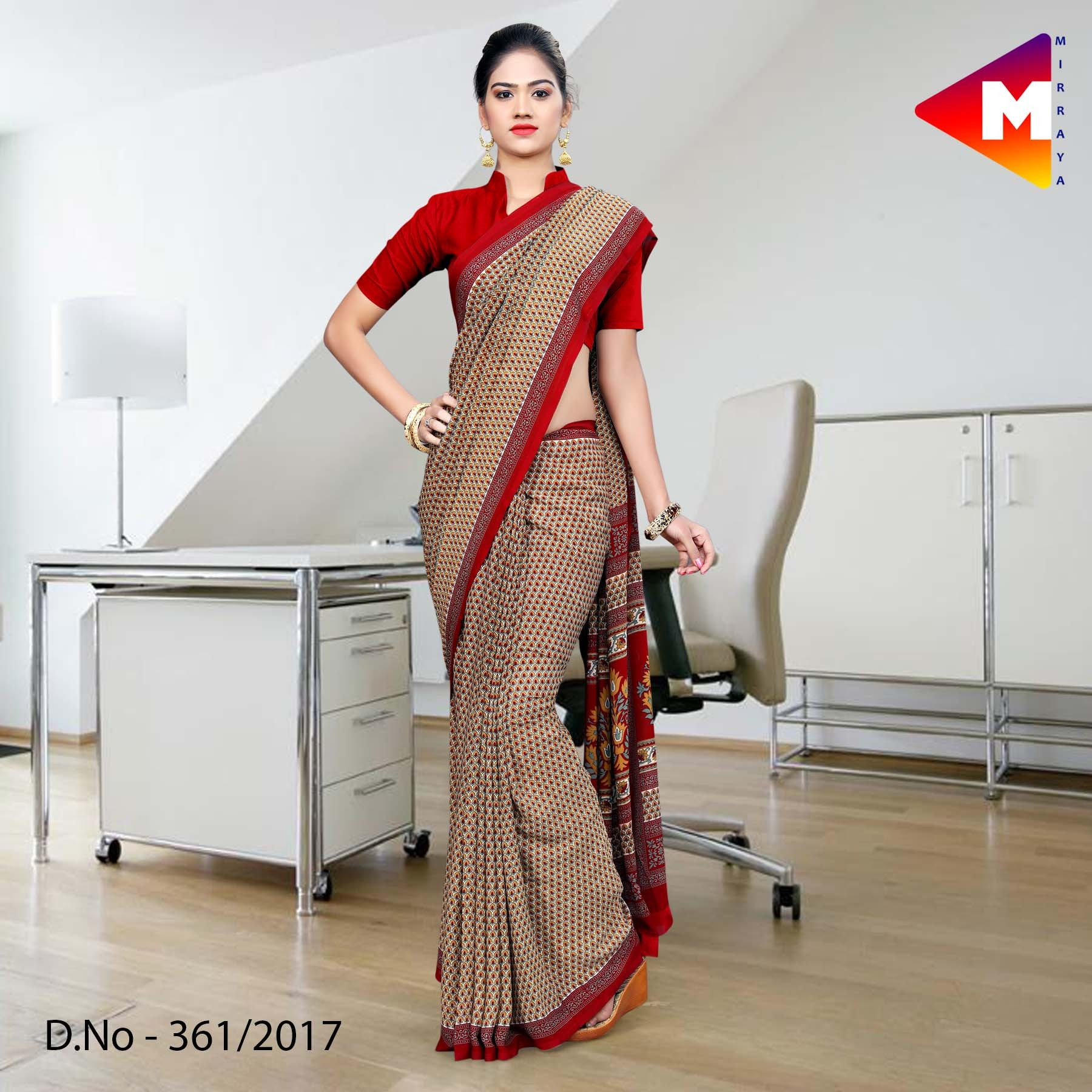 Red and brown green Georgette Uniform Saree