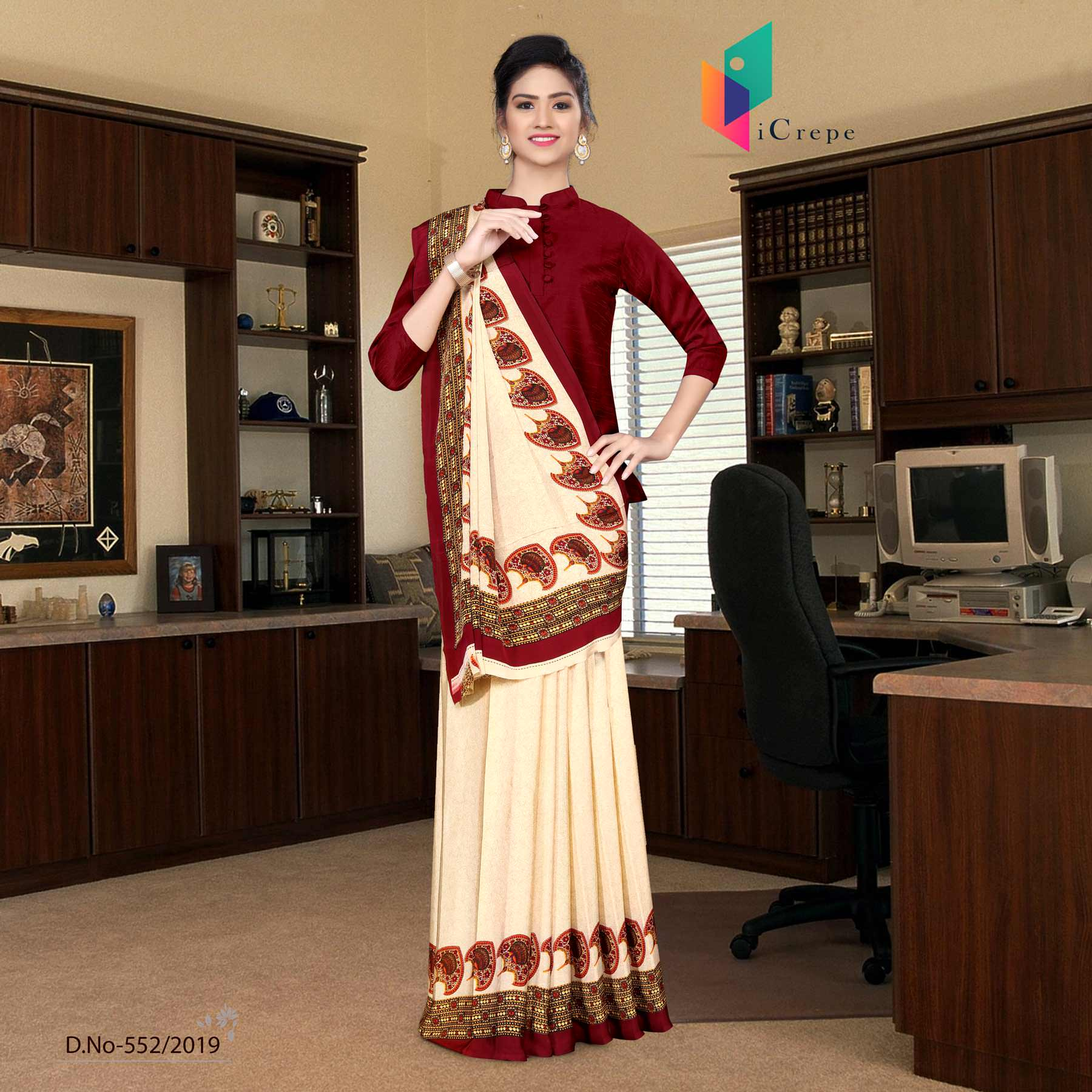 Off white and red italian crepe silk hospital uniform saree
