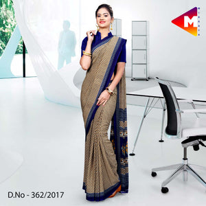 Blue brown Georgette Uniform Saree