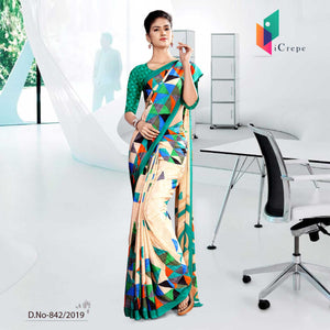 BEIGE AND GREEN ICREPE CORPORATE UNIFORM SAREE