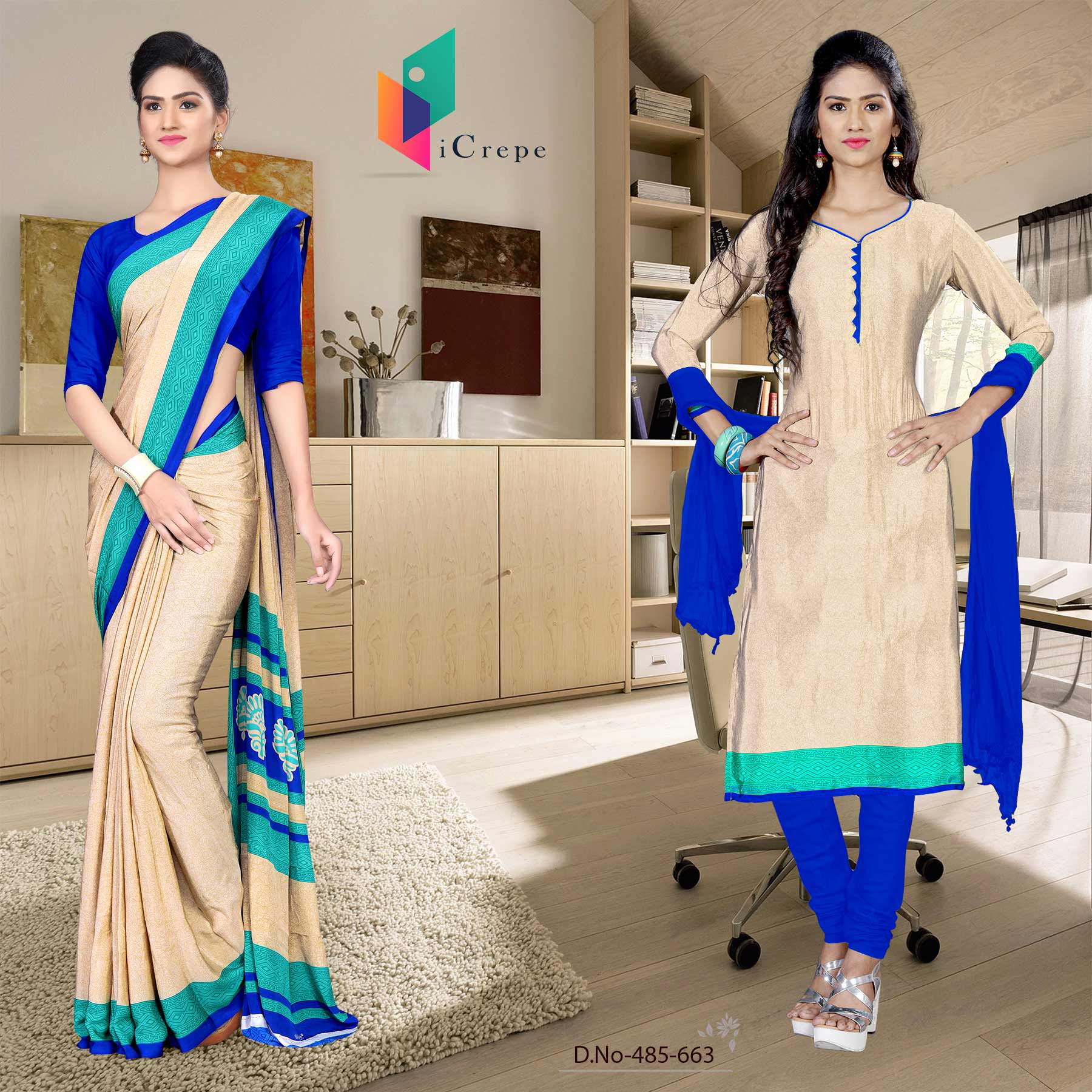 Off white and blue italian crepe silk showroom uniform saree salwar combo