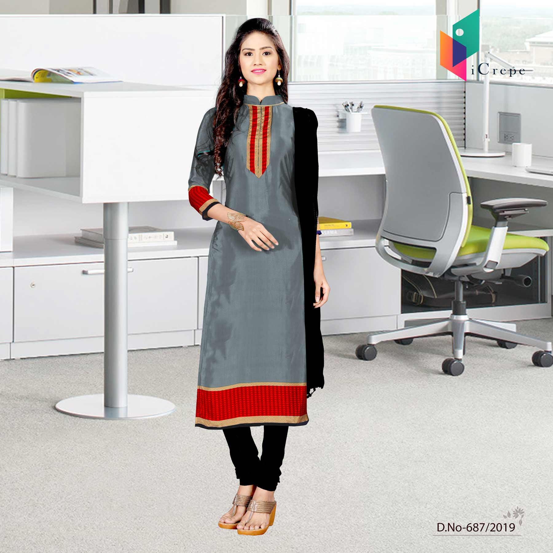 Grey and red italian crepe silk teachers uniform salwar kameez
