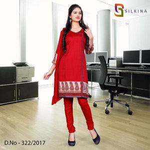Red and beige Silk Georgette Uniform Salwar Kameez