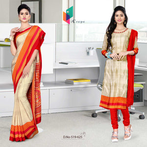 Off white and red italian crepe silk fancy uniform saree salwar combo