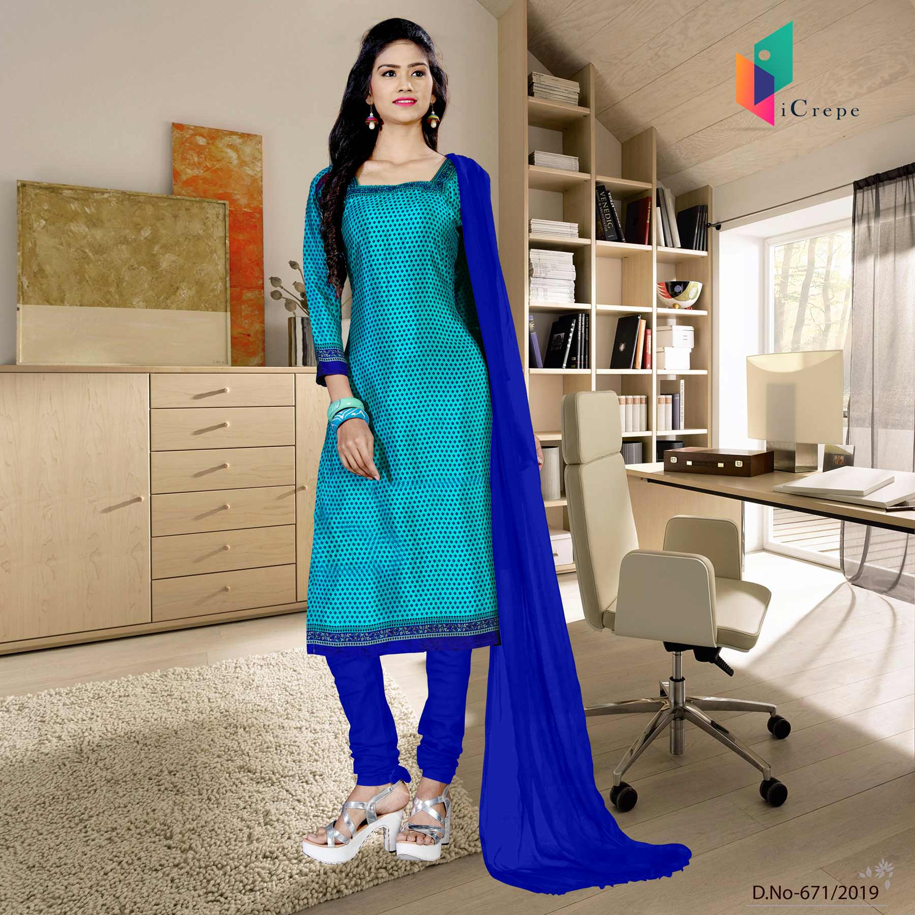 an image of sky blue and blue italian crepe silk institute uniform salwar kameez  with product logo and sku number