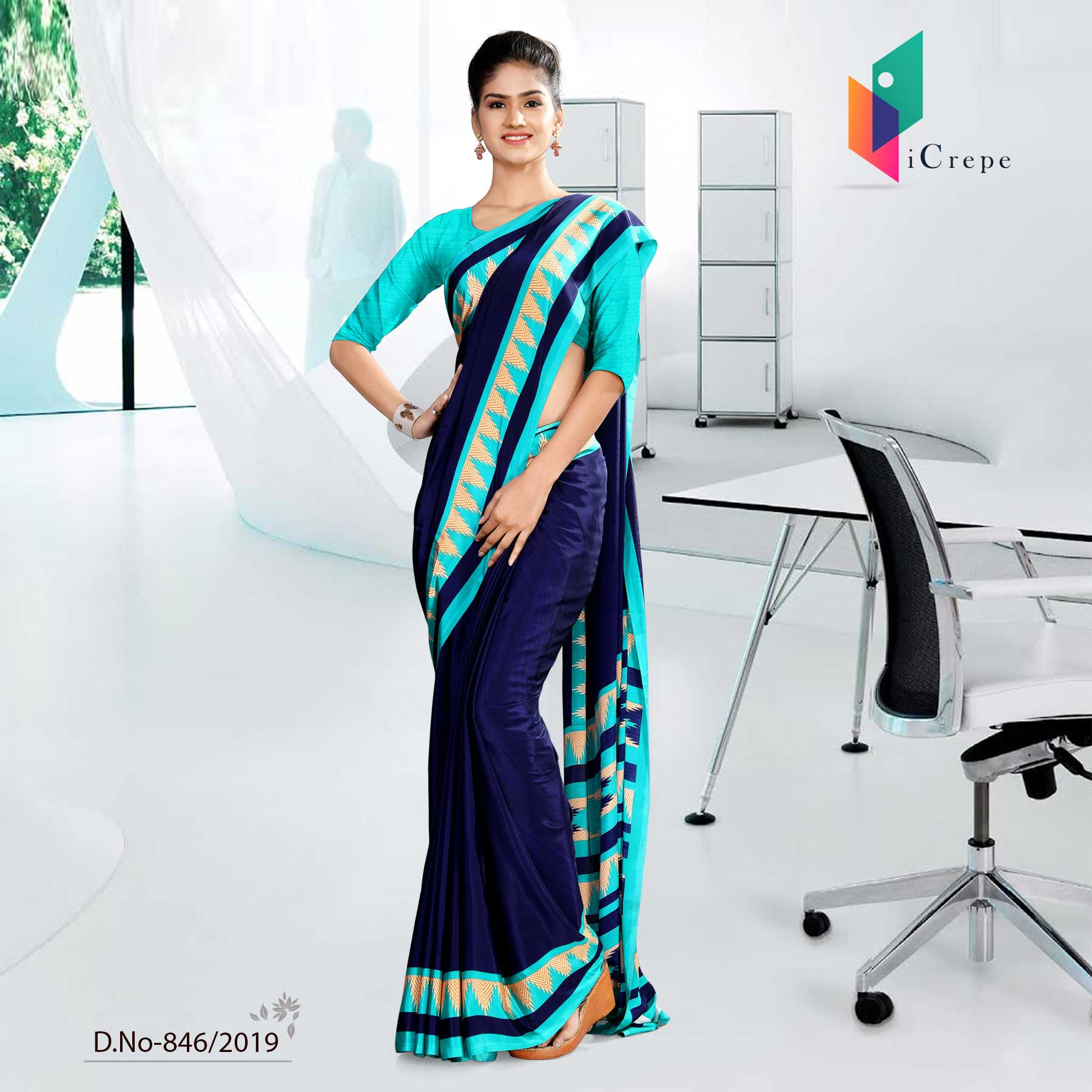 LIGHT BLUE AND  BLUE  CORPORATE UNIFORM SAREE